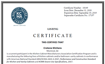 Interior Kitchen Certification crotone kitchens certifications this certifies that is a current participant in the kitchen cabinet manufacturers association certification program and manufacturing
