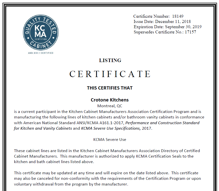 This Certifies That Crotone Kitchens Is A Cur Partint In The Kitchen Cabinet Manufacturers Ociation Certification Program And Manufacturing